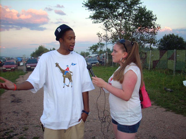 Black Milk and Wanja on location during an interview in Germany.
