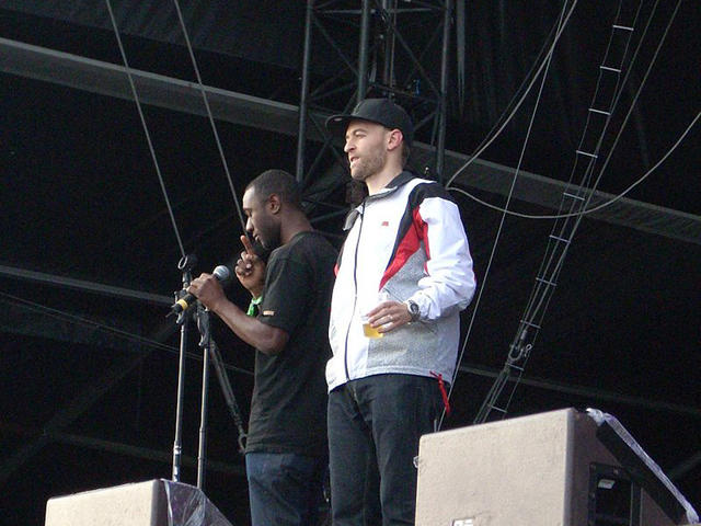 Aloe Blacc and Peanut Butter Wolf... MIC check on stage in Europe.