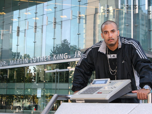 Noiseman holdin it down at SJSU Library with MPC 3000... respect to MLKJ.
