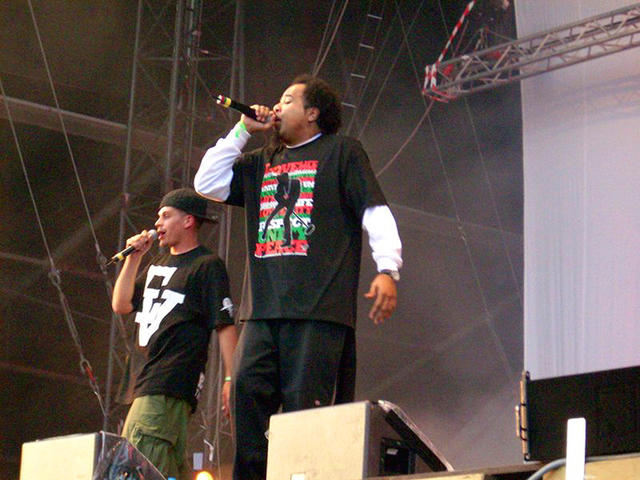 Dilated Peoples rocking the MIC on stage in Europe.