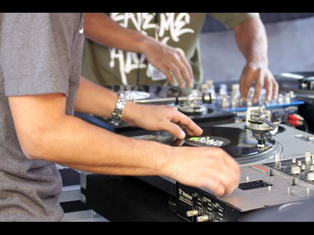 DJ's orchestrate group performance at the LA Beat Swap Meet - June 2011